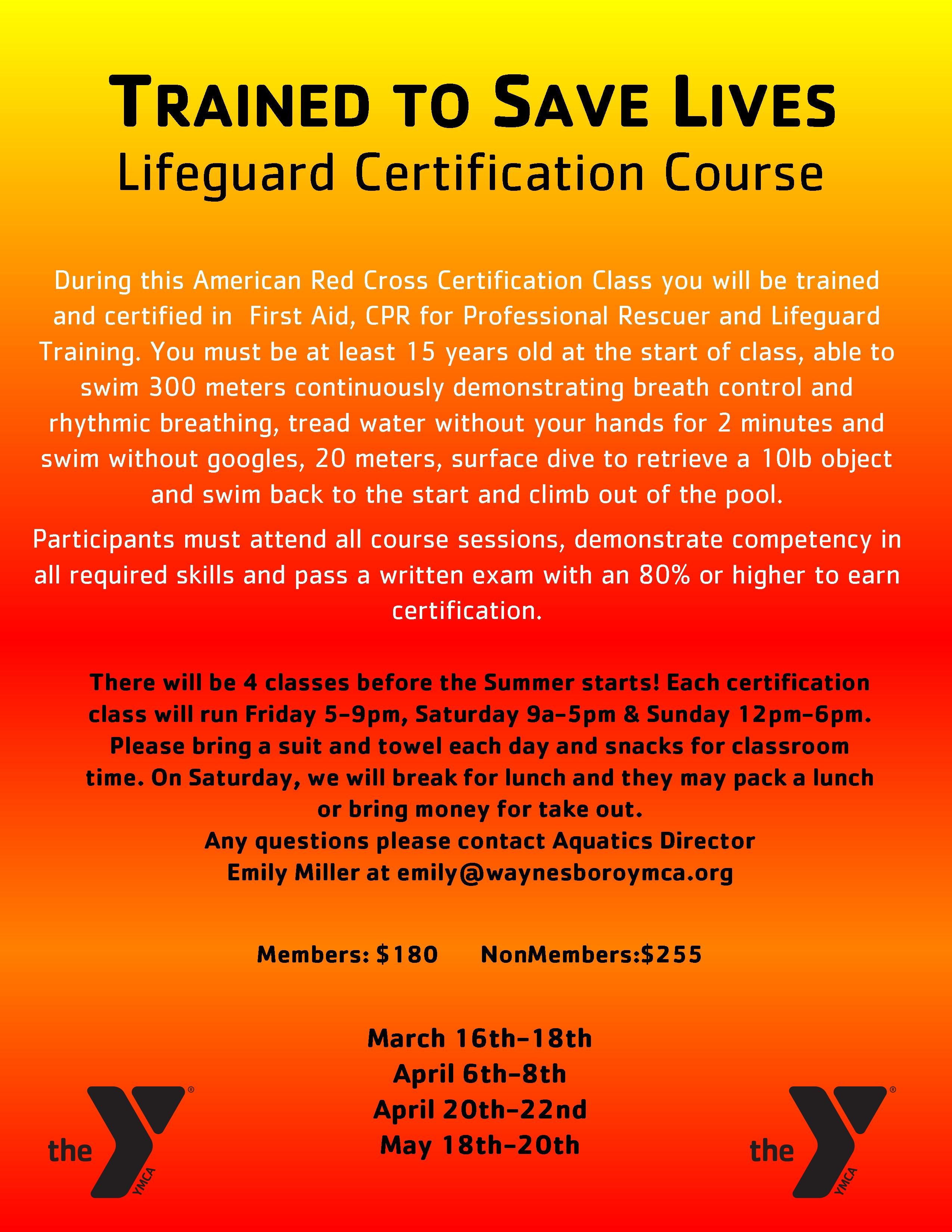 Cpr first aid lifeguard and wsi training waynesboro ymca click here for information about our spring 2018 course xflitez Gallery